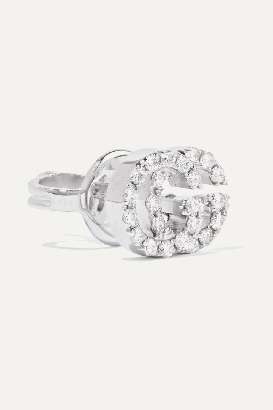 Gucci 18-karat white gold diamond earrings