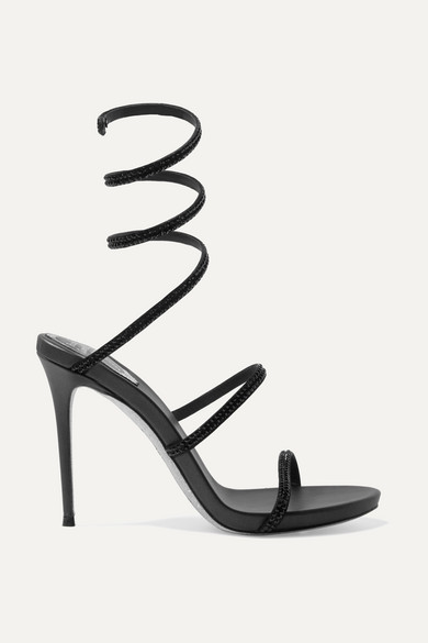 Exact Product: Kim Kardashian, Black Sandals, Formfitting Black Dress, Mid Calf, High Heel, Crisscross Tie, Thin Straps | Kim Kardashian Black Sandals Street Style Spring Summer 2019 | Image#8, Brand: Rene Caovilla, Available on: net-a-porter.com, Price: $1130