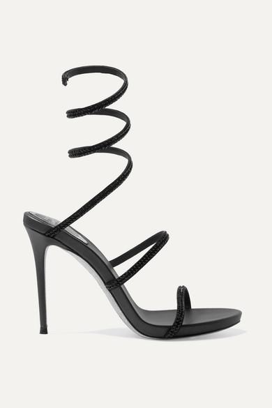 RENÉ CAOVILLA Snake crystal-embellished leather sandals