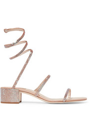 René Caovilla Cleo crystal-embellished metallic satin and leather sandals