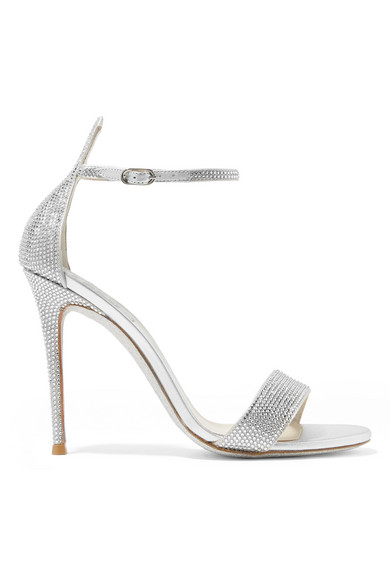 René Caovilla - Celebrita Crystal-embellished Metallic Satin And Leather Sandals - Silver