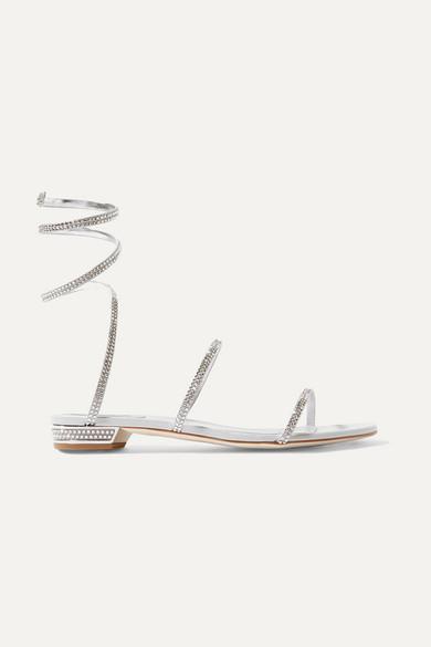 Snake Crystal-embellished Metallic Leather Sandals - Silver Rene Caovilla HLx3FB2a
