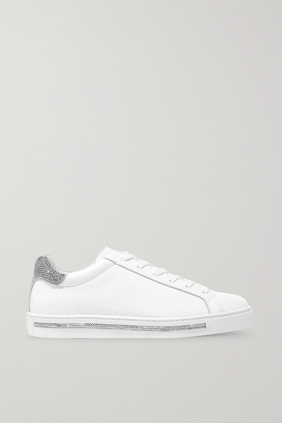 René Caovilla Crystal-embellished leather and suede sneakers
