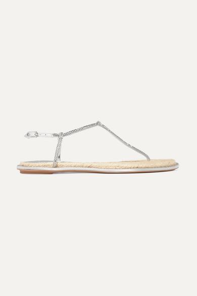 RENÉ CAOVILLA Crystal-embellished metallic leather sandals