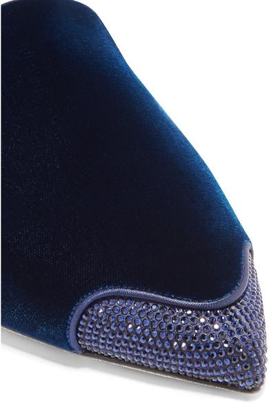 René Caovilla und | Slippers aus Satin und Caovilla Samt mit Kristallen 1b706f