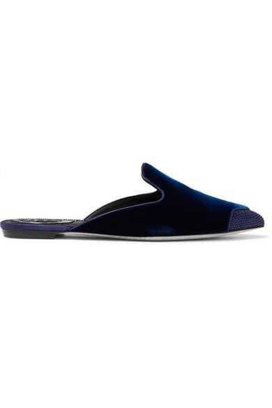 Crystal-Embellished Satin And Velvet Slippers, Blue