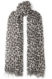 Chan Luu Fringed leopard-print cashmere and silk-blend scarf