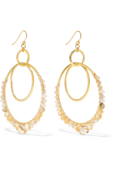 CHAN LUU Semiprecious Stone Double Hoop Drop Earrings in Gold