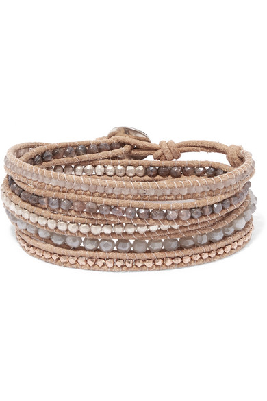 Chan Luu Leather And Rose Gold-plated Silverite Wrap Bracelet - Beige kl1pW