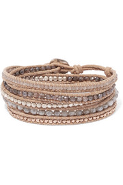 Chan Luu Leather and rose gold-plated silverite wrap bracelet