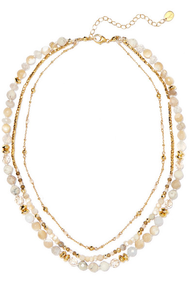 CHAN LUU Faceted-Bead Layered Necklace, 16 in Gold