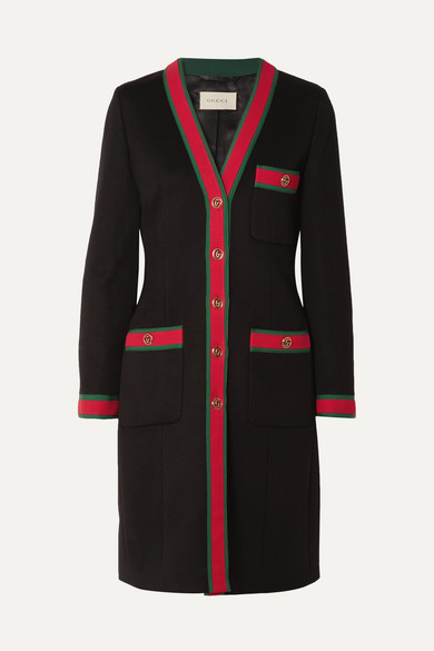 Grosgrain Trimmed Wool Coat by Gucci