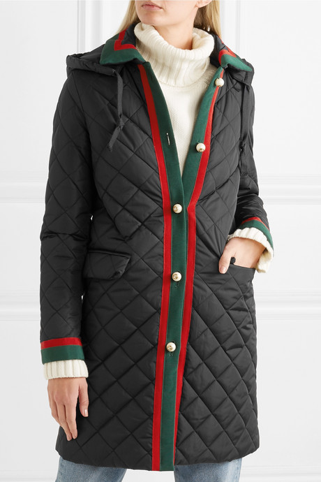Hooded grosgrain-trimmed quilted shell coat