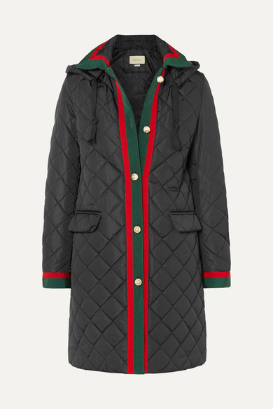 Gucci Coats Hooded grosgrain-trimmed quilted shell coat