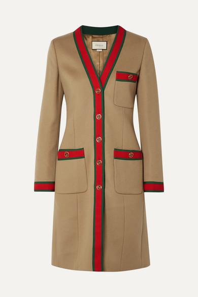 Gucci - Grosgrain-trimmed Wool Coat - Camel