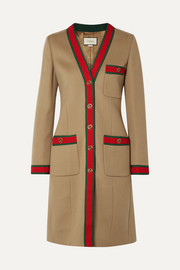 Grosgrain-trimmed wool coat