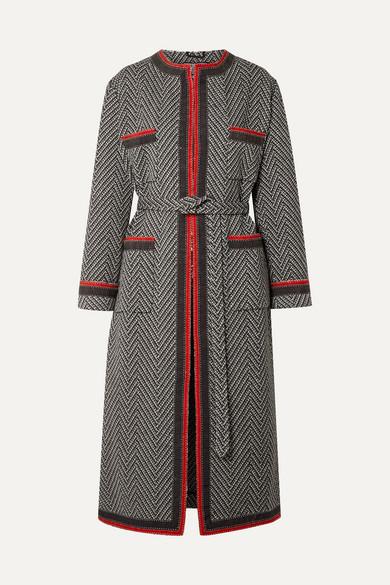 Gucci - Grosgrain-trimmed Wool-blend Bouclé Coat - Black