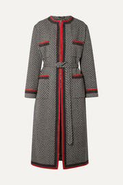 Gucci Grosgrain-trimmed wool-blend bouclé coat