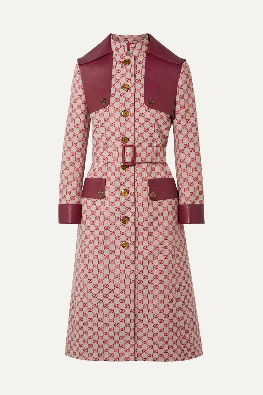 Gucci Leather-trimmed belted cotton-blend canvas trench coat