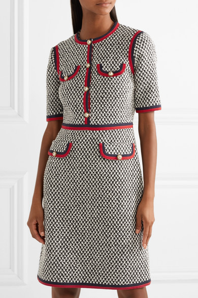545b34bf20 Gucci   Grosgrain-trimmed cotton-blend tweed mini dress   NET-A ...