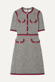 Gucci Grosgrain-trimmed cotton-blend tweed mini dress