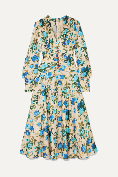 Gucci - Floral-print Silk-twill Midi Dress - Blue