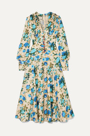 Gucci Floral-print silk-twill midi dress