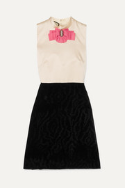Gucci Embellished two-tone silk and devoré-velvet mini dress