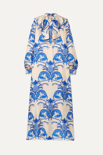 GUCCI RUFFLED PRINTED SILK-SATIN TWILL MAXI DRESS