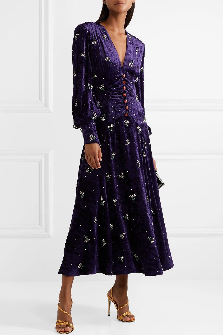 Gucci Robe midi en velours à ornements