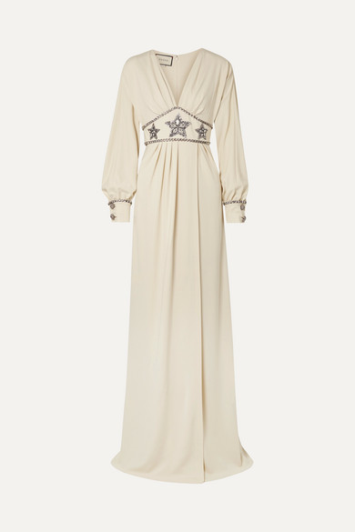 Crystal-Embellished Wrap-Effect Georgette Gown in Neutrals