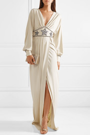 Crystal-embellished wrap-effect georgette gown