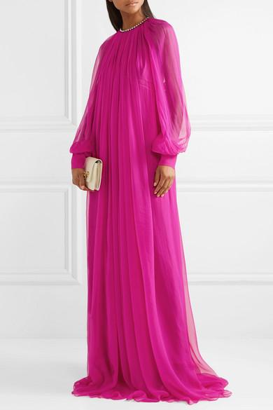 Gucci Dress Gathered crystal-embellished silk-chiffon gown