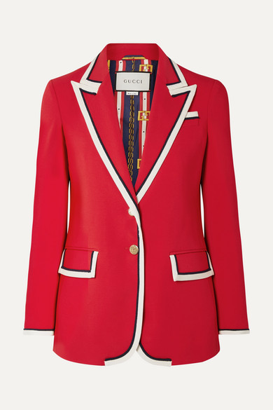 Peak-Lapel Two-Button Cady-Stretch Blazer, Red