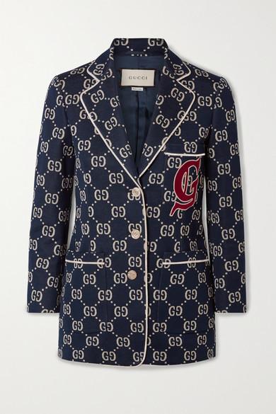 Appliquéd Cotton Jacquard Blazer by Gucci