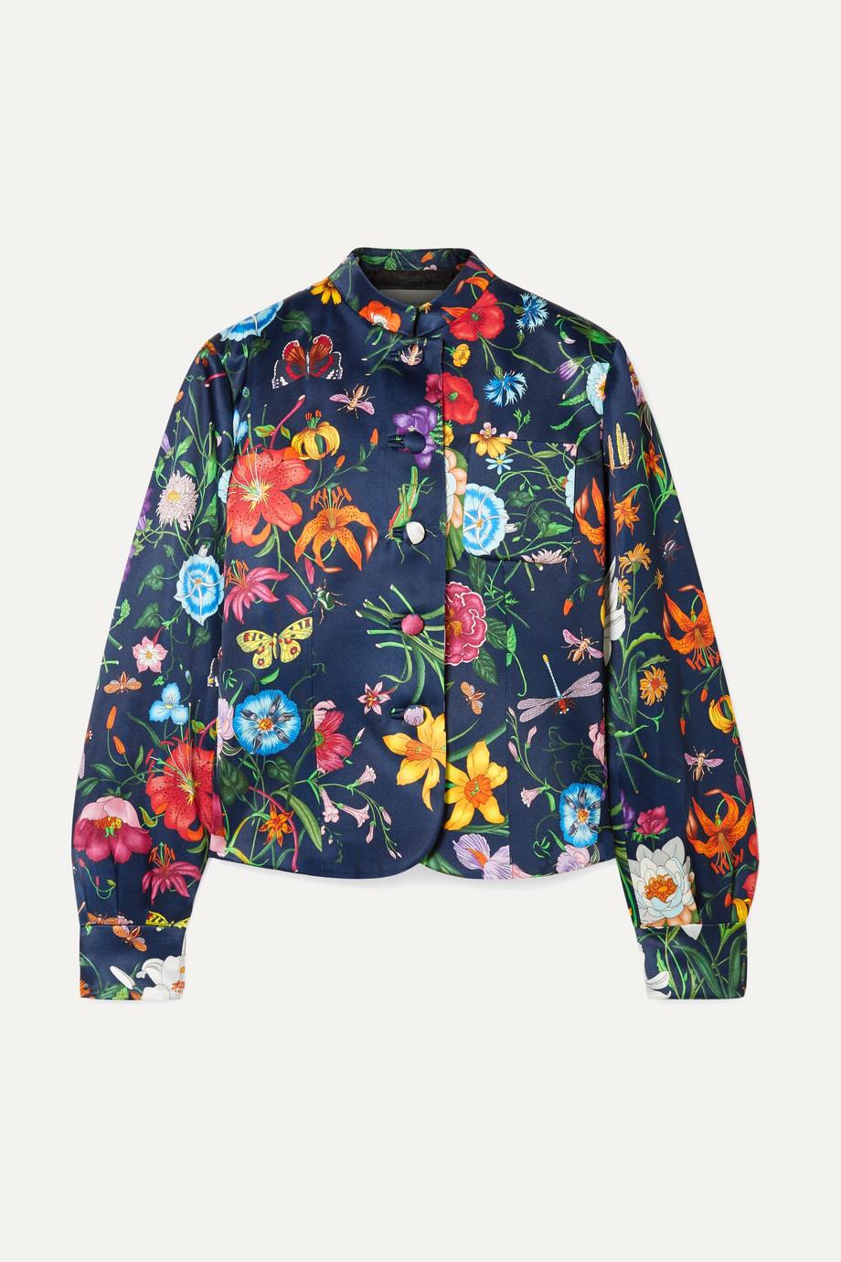 Gucci Floral-print silk-satin jacket