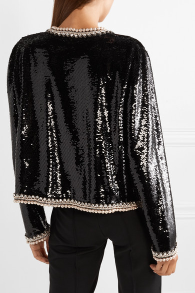 6e96282cfc82 Gucci. Faux pearl and crystal-trimmed sequined crepe jacket. £9