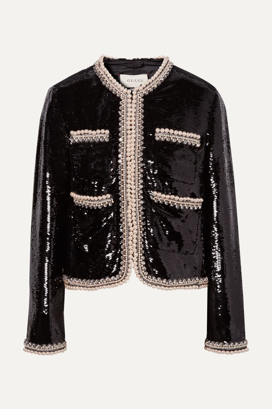Gucci Faux pearl and crystal-trimmed sequined crepe jacket