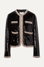 b38cfe51b1b8 Gucci Faux pearl and crystal-trimmed sequined crepe jacket