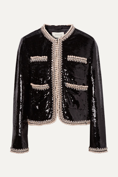 d80c03c8d9e6 Gucci. Faux pearl and crystal-trimmed sequined crepe jacket