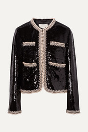 Faux pearl and crystal-trimmed sequined crepe jacket