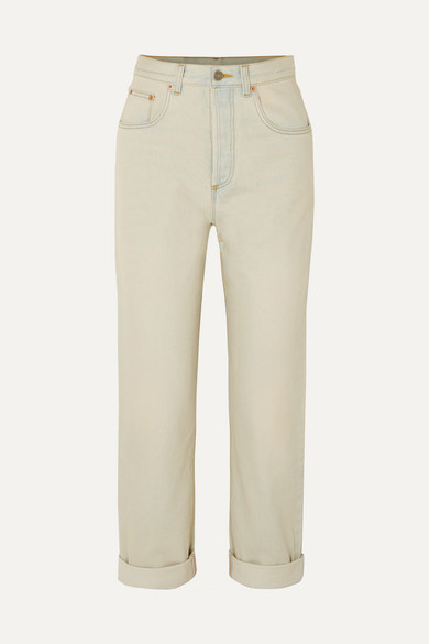 Printed High Rise Straight Leg Jeans by Gucci