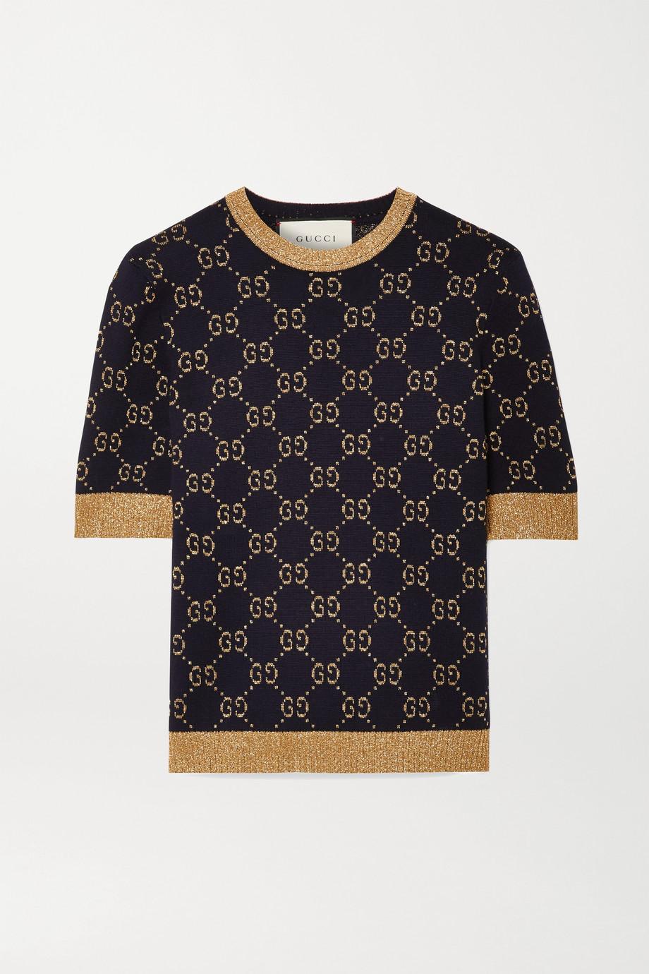 Gucci 金属感棉质混纺提花毛衣