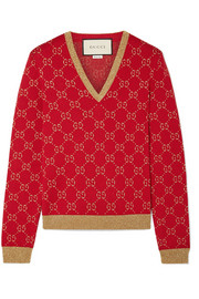 Gucci Metallic cotton-blend jacquard sweater
