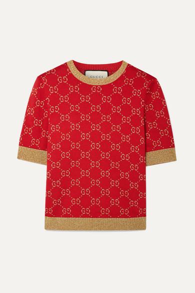 Metallic Cotton Blend Jacquard Sweater by Gucci