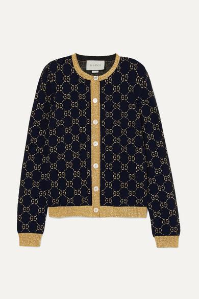 f93ed600 Metallic cotton-blend jacquard cardigan