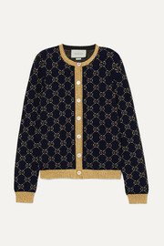 Gucci Metallic cotton-blend jacquard cardigan