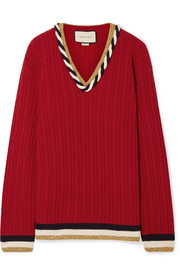 Gucci Lurex-trimmed cable-knit wool and cashmere-blend sweater