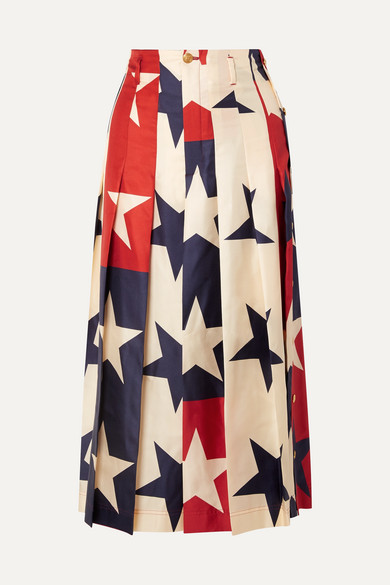 Pleated Printed Silk Twill Wide Leg Pants by Gucci