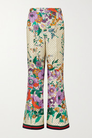 Printed silk-charmeuse wide-leg pants